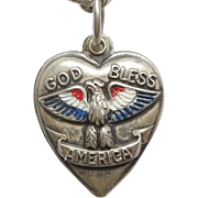 Sterling Silver Puffy Heart Charm - 'God Bless America' Patriotic Eagle