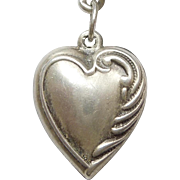 Sterling Silver Puffy Heart Charm - Asymmetrical - Engraved 'Dodie'