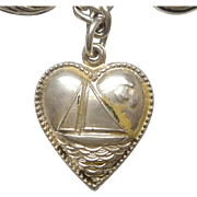 Sterling Silver Puffy Heart Charm - Sailboat with Beaded Edge - Engraved 'Adeline'