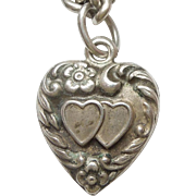 Smaller Sterling Silver Puffy Heart Charm - Asymmetrical Repousse Hearts and Flowers