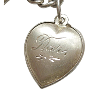 Sterling Silver Puffy Heart Charm - Etched Design - Engraved 'Dar.'