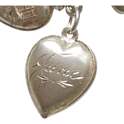 Sterling Silver Puffy Heart Charm - Etched Design - Engraved 'June'
