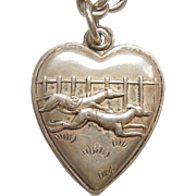 Sterling Silver Puffy Heart Charm - Racing Greyhound Dogs
