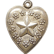 Sterling Silver Puffy Heart Charm - Star - Engraved 'Marie'