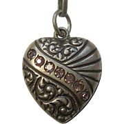 Sterling Silver Puffy Heart Charm - Asymmetrical Repousse Banner with Pink Stones