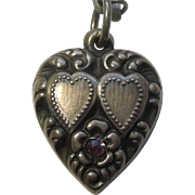 Sterling Silver Puffy Heart Charm – Double Hearts and Flower - Lavender Stone