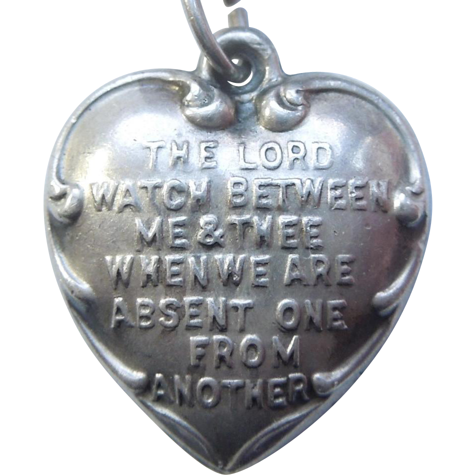 sterling silver charm mizpah engraved