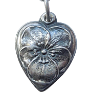Sterling Silver Puffy Heart Charm - Pansy Flower - Engraved 'Joe'