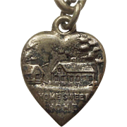 Victorian Sterling Silver Puffy Heart Charm - Home Sweet Home