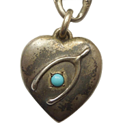 Sterling Silver Lucky Wishbone Puffy Heart Charm with Turquoise-colored Stone - Engraved 'CS'