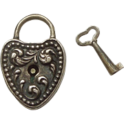 Victorian Sterling Silver Repousse Puffy Heart Padlock and Key Charm