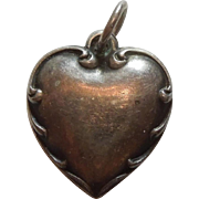 Engraved 'Grace' - Sterling Silver Repousse Border Puffy Heart Charm