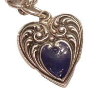 Sterling Silver Puffy Heart Charm - Repousse with Cobalt Blue Enamel - Engraved 'DB From JL'