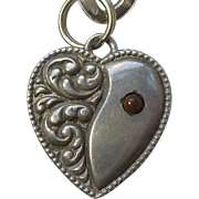 Victorian Sterling Silver Puffy Heart Charm with Brown Stone - Engraved 'Mama'