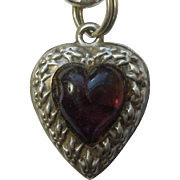Repousse Puffy Heart Charm - Fleurs-de-Lis Border with Amethyst-colored Heart Inset - Engraved 'Mildred'