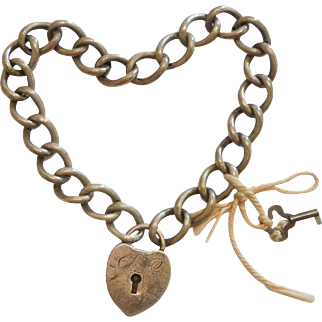 Victorian Sterling Silver Repousse Puffy Heart Padlock, Bracelet and Key - Engraved 'A.P.' and '1897'