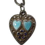 Sterling Silver Puffy Heart Charm – Blue Enamel Double Hearts and Flower