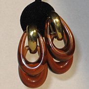 Crown Trifari Double Hoop Lucite Faux Tortoise Dangle Earrings