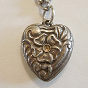 Sterling Silver Walter Lampl Puffy Heart Charm Repousse Flower