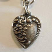 Sterling Silver Puffy Heart Charm - Forget-Me-Not - Engraved 'Jacky Wren'
