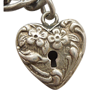 Walter Lampl Sterling Silver Puffy Heart Faux Padlock Charm - Forget Me Not