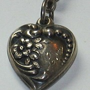 Sterling Silver Repousse Puffy Heart Charm Engraved 'Lou' or 'Lew'