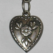Sterling Silver Puffy Heart Charm ~ Repousse Forget-Me-Not