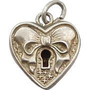 Walter Lampl Sterling Silver Puffy Heart Faux Padlock Charm with Bow