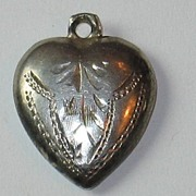 Sterling Silver Puffy Heart Charm ~ Etched Design ~ Engraved 'P.R.B'