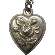 Sterling Silver Puffy Heart Charm - Repousse Rose and Buds - Engraved 'B.H.'