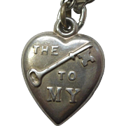 Sterling Silver Puffy Heart Charm – 'The Key to My Heart' Rebus - Engraved 'Kem'