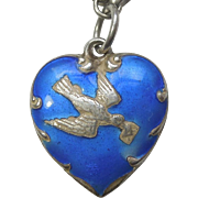Sterling Silver and Blue Enamel Puffy Heart Charm - Bird with Love Letter - Engraved 'D.D.'