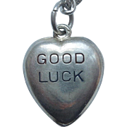 Sterling Silver Puffy Heart Charm – 'Good Luck' Valentine Candy Heart