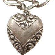 Sterling Silver Puffy Heart Charm - Chevron with Paisley Repousse