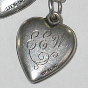Sterling Silver Forget-Me-Not Puffy Heart Charm with Beautifully Engraved Initials 'EEW'