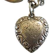 Sterling Silver Puffy Heart Charm – Repousse Border – Engraved 'Hazel'