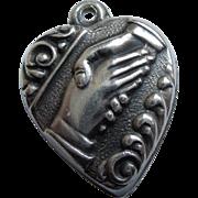 Sterling Silver Puffy Heart Charm - Friendship Handshake - Engraved 'Jack'
