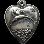 Sterling Silver Puffy Heart Charm - Sailfish or Swordfish