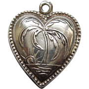 Sterling Silver Puffy Heart Charm – Repousse Palm Tree – Engraved 'G.Boys'