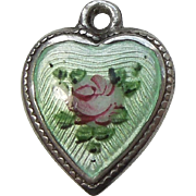 Sterling Silver Puffy Heart Charm – Mint Green Guilloche Enamel with Pink Rose - Engraved 'Dick + Lela'