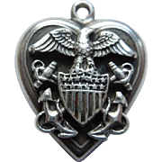 Sterling Silver Puffy Heart Charm - U.S. Navy Eagle Shield and Anchors - Engraved 'Mabel'