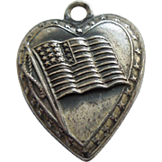 Sterling Silver Puffy Heart Charm of United States Flag - Engraved 'Dorothy'