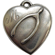 Sterling Silver Puffy Heart Charm - Wishbone - Engraved 'Marie'