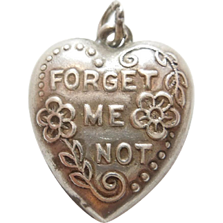 Sterling Silver Puffy Heart Charm - Not Your Usual Forget-Me-Not