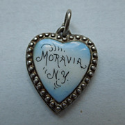 Victorian Sterling Silver Puffy Heart Charm ~ Moravia, N.Y. Enamel ~ Engraved 'R.W'