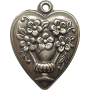 Sterling Silver Puffy Heart Charm - Vase of Flowers