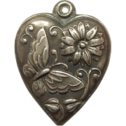 Sterling Silver Puffy Heart Charm - Repousse Butterfly and Flower
