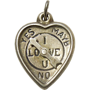 Sterling Silver Puffy Heart Charm - 'I Love U' Spinner