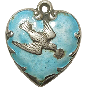 Sterling Silver and Blue Enamel Puffy Heart Charm - Dove Bird with Love Letter - Engraved  'Grand-Mother'