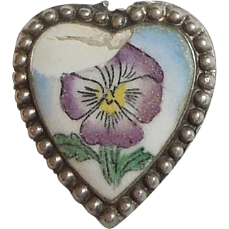 Victorian Sterling Silver and Enameled Porcelain Puffy Heart Charm - Pansy Flower - Engraved 'Love'